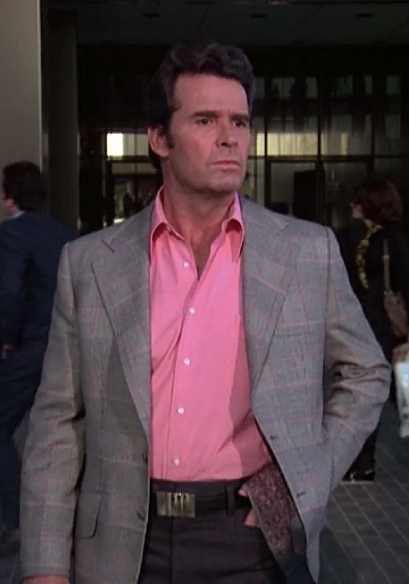 The Rockford Files Jim S Black White And Pink Glenurquhart Check Jacket Bamf Style